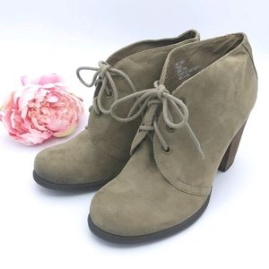 MIA GIRL TRAINEE Suede Feel Lace Up Heeled Booties